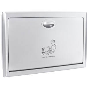 Folding baby changing station horizontal, stainless steel