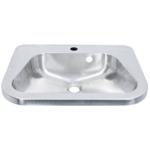 Wall-mounted washbasin with faucet hole