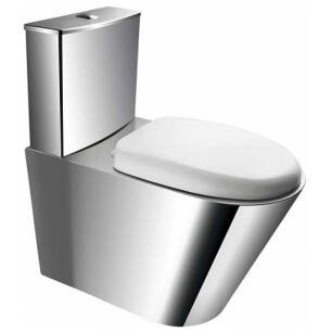 Stainless steel compact toilet with PVC seat, floor settled