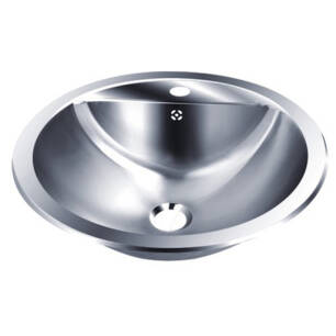 Round built-in worktop stainless steel washbasin with faucet hole